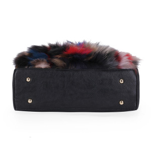 Image 4 - Women Natural Rabbit Hair Tote Bag Lady Winter Cony Hair Muff Fluffy Daily Top handle Bag Female Multicolor Fur Crossbody Bag