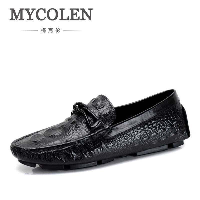 MYCOLEN Summer New Crocodile Pattern Leather Handmade Men Shoes Men Wedding Party Loafers Casual Breathable Men Flats Sapatos cbjsho brand men shoes 2017 new genuine leather moccasins comfortable men loafers luxury men s flats men casual shoes