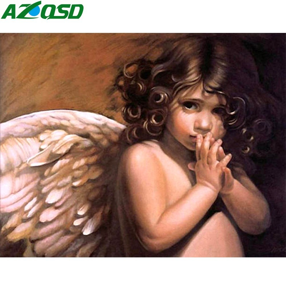 AZQSD Painting By Numbers Frameless 40x50cm Cute Angle Baby Oil Painting Picture By Numbers On Canvas Home Decor Szyh084
