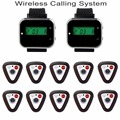 Wireless Restaurant Pager Calling System with 2pcs Watch Receiver +10pcs Call Button Pager for Shop Hospital Church F3296F