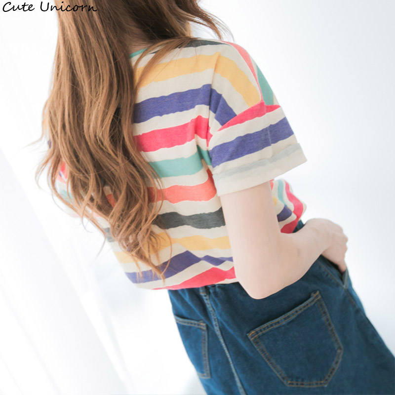 Cute Unicorn 2018 colorful stripe tee cute  for women short sleeves tops cool  summer Striped Classic Bottom shirt