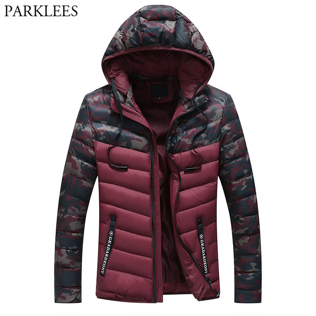 Windproof Camouflage Hooded Puffer Jacket Men 2018 Winter New Casual