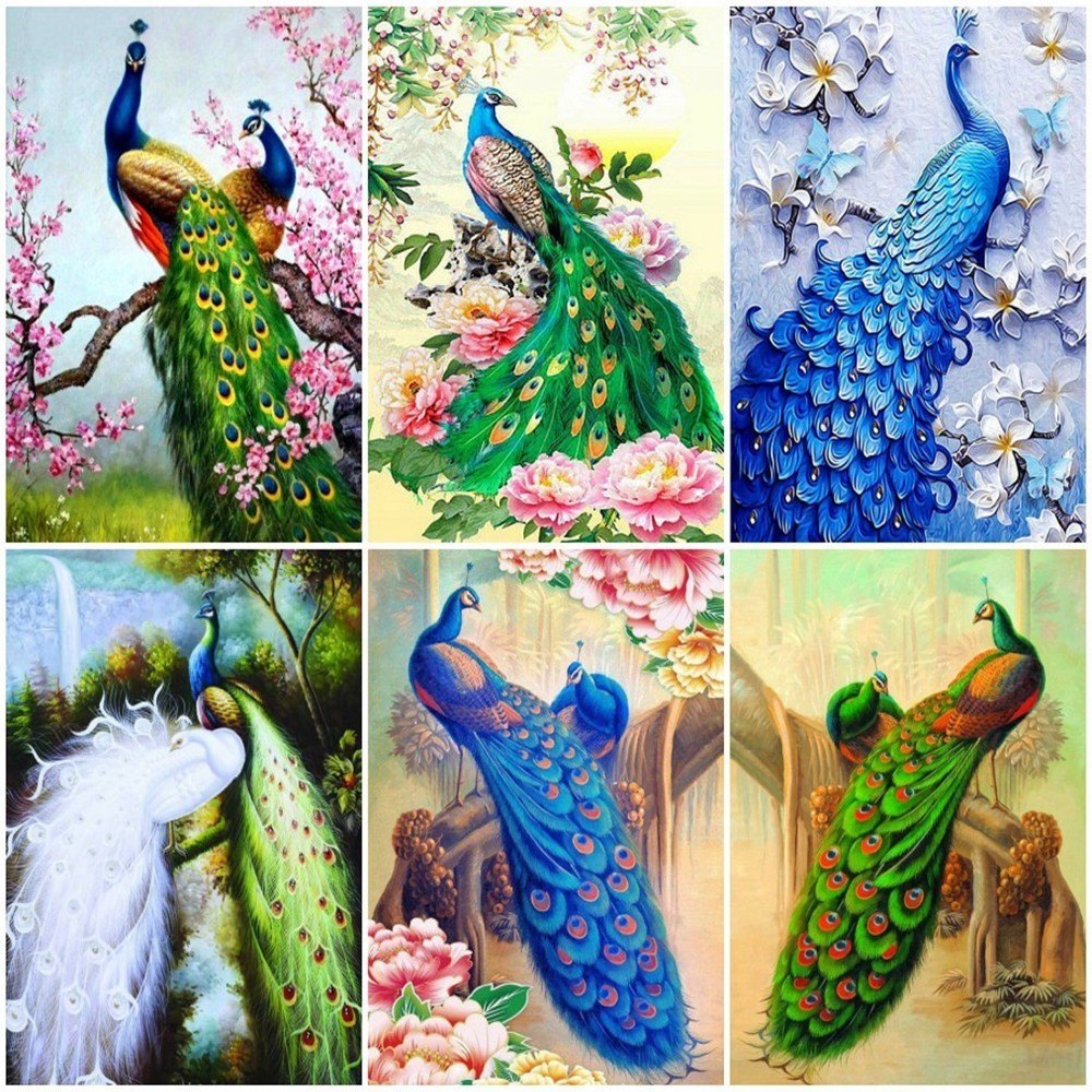 Huacan Diamond Painting New Animal Peacock Embroidery Sale Full Square/Round Drill Cross Stitch Mosaic Home Decor Drop Ship image