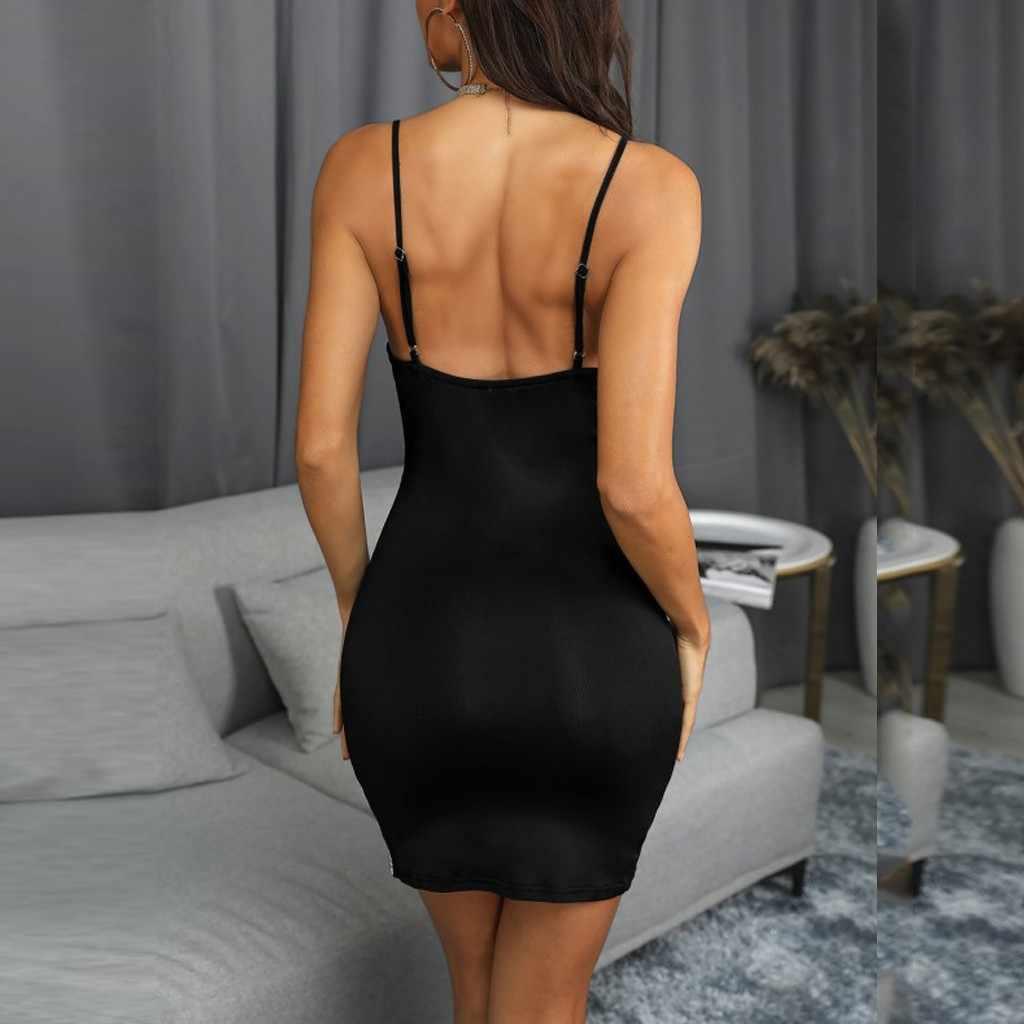 Robe Sexy femmes col en v profond mode dames robes noir-blanc Patchwork Slim moulante robe Mini robes de soirée 2019 nouveau
