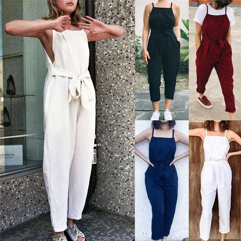 New Arrivals Sexy Girls Cloth Women Sexy Plus Size Solid Sashes Camis Long Loose Jumpsuit Bodysuit Solid Retro Jumpsuit Femme
