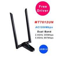 Wifi placa de rede ac1200mbps usb3.0 sem fio wifi adaptador de antena mt7612u ieee 802.11ac wi-fi dongle receptor transmissor