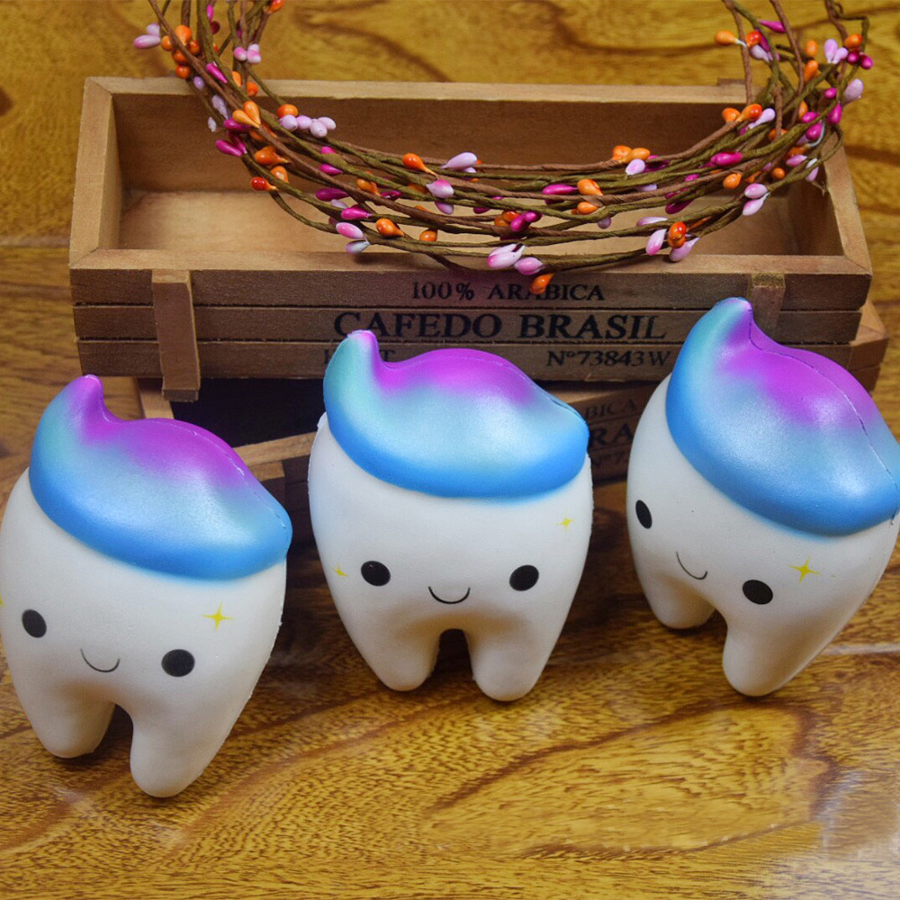 11 5CM Jumbo Squishy Tooth Anti strss Toy Squishies Easter Gift Squishy Slow Rising Phone Straps