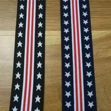 4cm Width Elastic Webbing American style Spandex Polyester Pentagram Red strip Design 5yards
