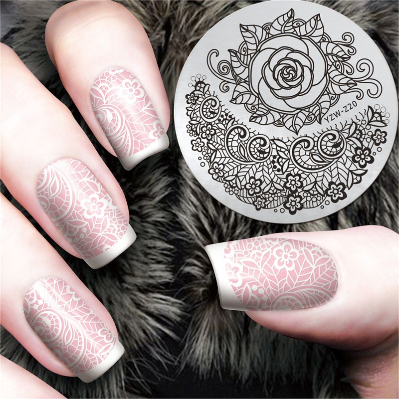 1 Pc Elegant Rose Design Stamping Plate 5.5cm Round Vine  Nail Stamping Template Manicure Nail Art Plate #YZW-Z20