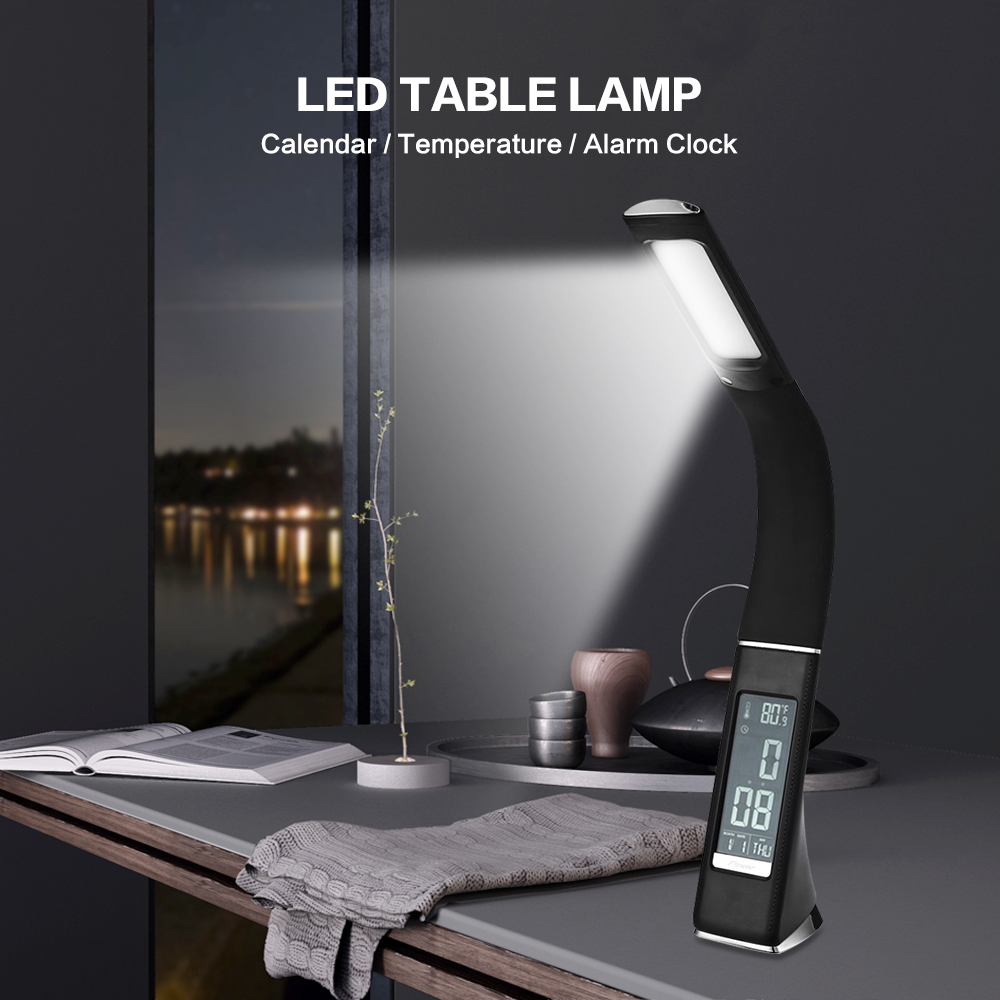 2017 Premium 5W 200LM SMD 5730 Electronic VA Screen 3 Level Dimmable LED Table Lamp With Calendar Temperature Alarm Clock