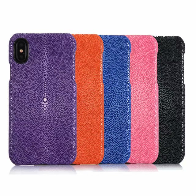Luxury Pearl Fish Genuine Leather Case for IPhone X XS Hard Back Cover Cases for IPhone X Fundas Capa Para for IPhone XS Coque