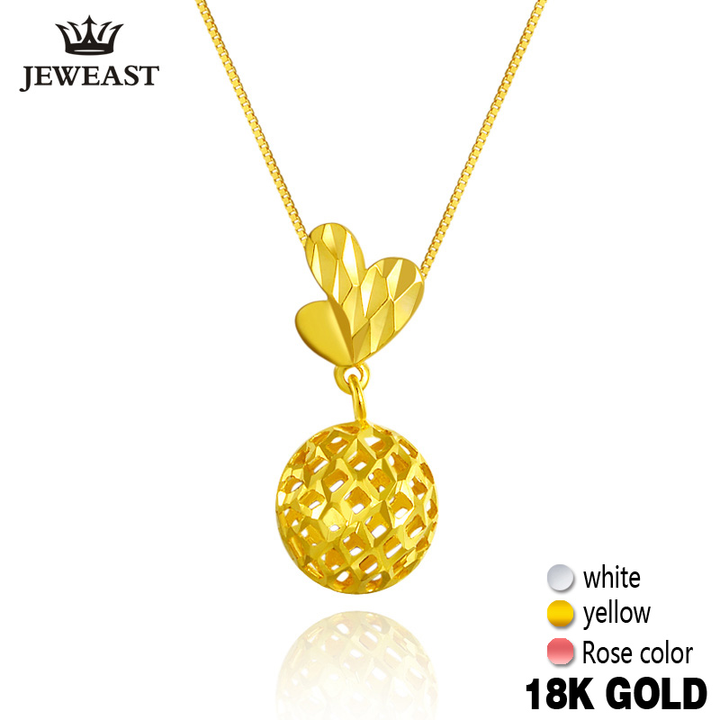 2017 New 18K Pure Yellow Gold Charm Au750 Necklace Trendy Fashion Classic Pendants Lucky Bead Woman Girl Hot Selling Simple bead simple