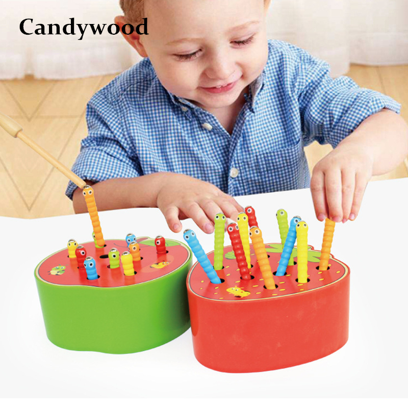Candywood Catch Worms Game Magnetic Wooden Toys For Children Kids Early Educational Toy Baby Learning Wooden Blocks Boys Toys(China)