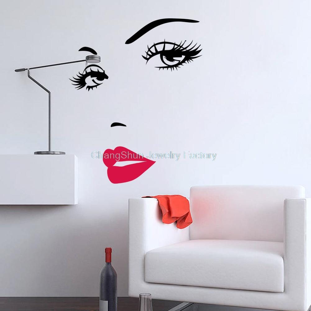 Great Wholesale Portrait Beautiful Woman Face Vinyl Art Decals Remove Wall  Stickers Quotes For Wall Decor Creative ... Part 21