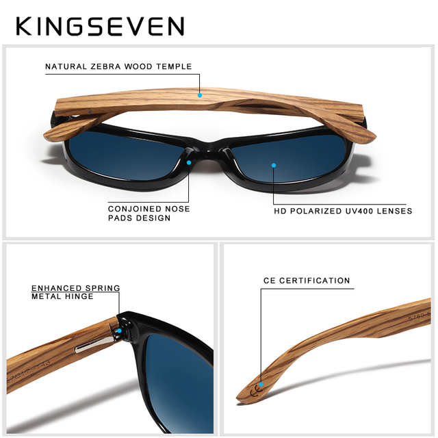 KINGSEVEN Red Mirror Wood Sunglasses Women Ladies Zebra Wood Bamboo Vintage Polarized Sunglasses For Men oculos de sol Men's Glasses