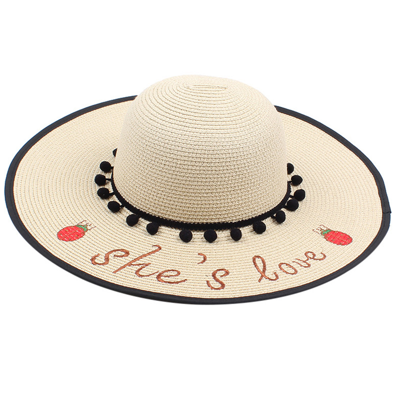 FashionLadies Sun Hat Summer Beach Straw Hat Letter Embroidered Sombrero Sun Hat Wide Cap Foldable(China)