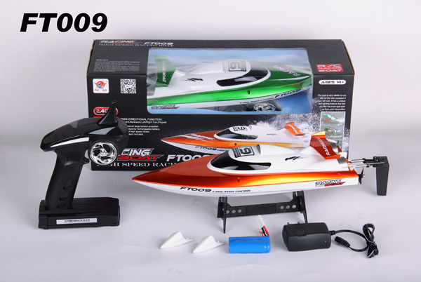 Feilun FT009 2.4G 4CH Water Cooling High Speed Racing RC Boat Orange and Green color