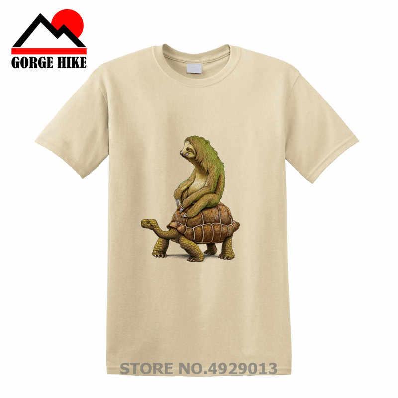 Beliebte Herren t-shirt mode Schildkröte Logo design t-shirt Sloth Reiten Schildkröte Harajuku lustige t-shirts Hipster Oansatz coole tops