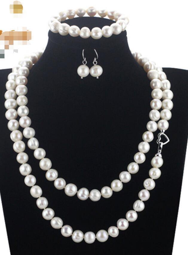 Livraison Gratuite>>>>> de Culture Off Ronde Une Perle D'eau Douce Collier Bracelet Boucles D'oreilles Set