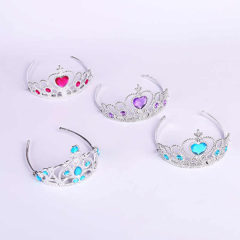 1pcs 2019 Fashion Accessories Girl Tiara Crown Multicolor Rhinestone Princess Crown Plastic Silver Color Headwear