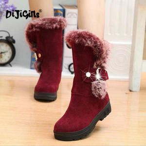 Image 2 - fashion New Ladies non slip Winter Women casual Warm Fur Mid Calf Boots women flat Round Toe Slip On Snow Boots women mujer