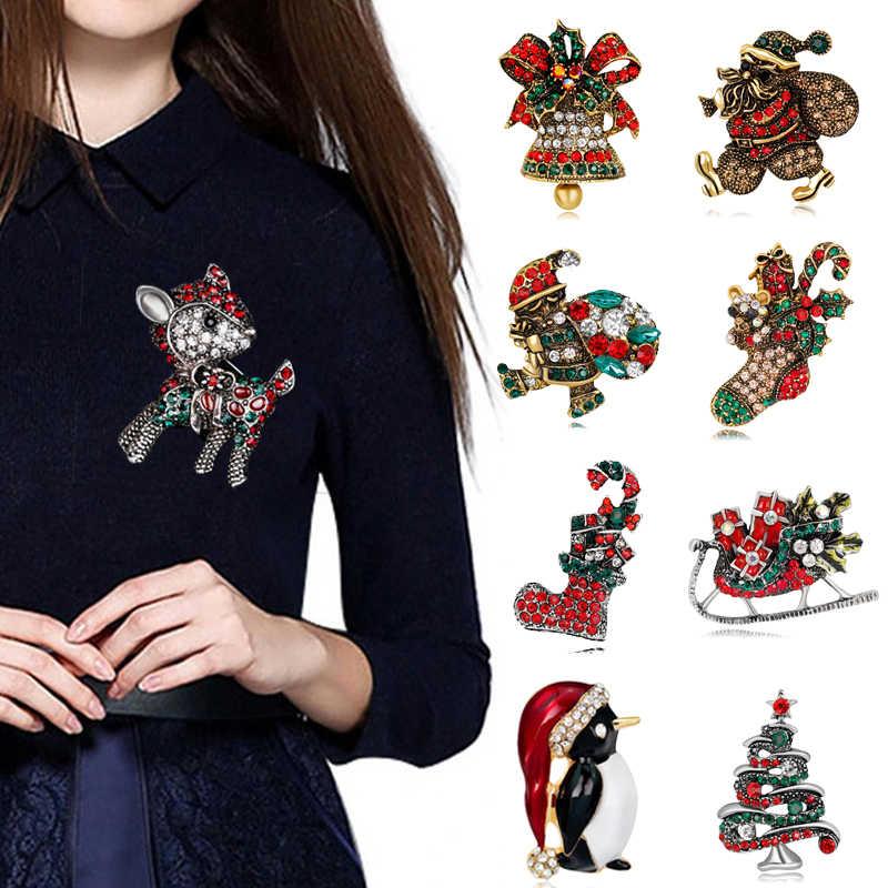 Yılbaşı Hediyeleri Güzel Kırmızı Ayakkabı Çizme Ağacı Hayvan Broş Pimleri Kadınlar Tam Rhinestones Noel Broş Yeni Yıl için 7C2155