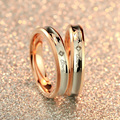 Free shipping black white AAA SWA Zircon & 3 Layer Rose gold plated ring Never fade titanium steel couples ring tail ring