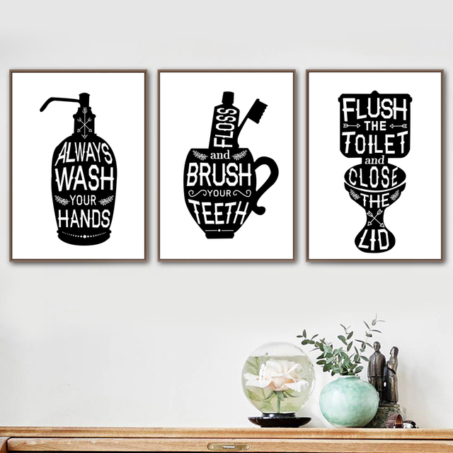 Us 2 93 35 Off Toothbrush Toilet Quotes Funny Bathroom Wall Art Canvas Painting Nordic Posters And Prints Wall Pictures For Living Room Decor In