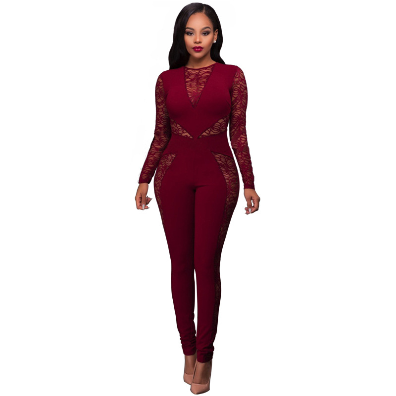 New Spring Summer Mesh Floral Lace Sexy Jumpsuit Sleeveless Elegant Jumpsuit For Women Bodysuit Clubwear Rompers