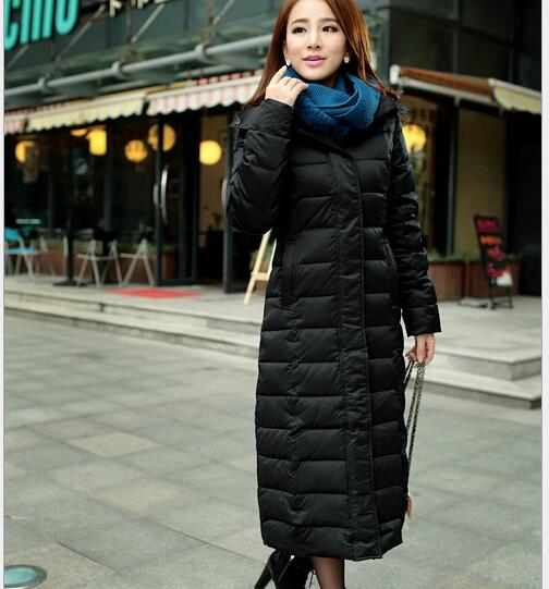 long section down coats women slim warm thick down padded plus