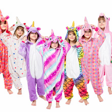Купить с кэшбэком Flannel winter Pegasus unicorn pajamas christmas pajamas pink for girls cartoon animals Hooded sleepwear onesie Boy pyjamas kids