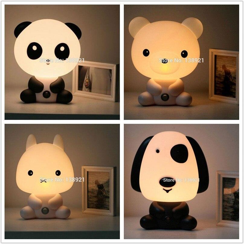 Lampes de Table Chambre de Bébé de Bande Dessinée Nuit de Sommeil De Lumière Enfants Lit Lampe Nuit de Sommeil Lampe avec Panda/Lapin/Chien/ours Forme UE/US Plug