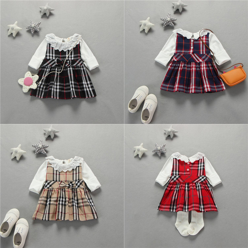 2016 Princess Style Newborn Baby Girl Clothes Kids Birthday Dress Girls Plaid Skirt+White T-shirt Baby Clothing Sets Infant Gift