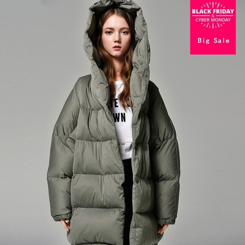 S-7XL Plus size Winter bat style real duck down coat female hooded super warm down coat thicker warm outwaer wq502 dropship