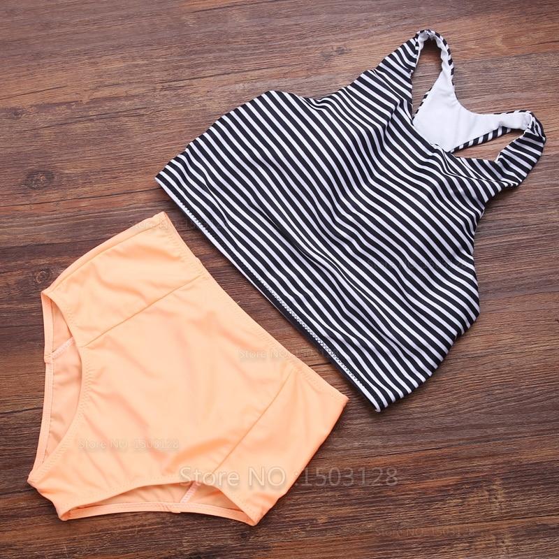 high neck serbatoi sexy caldo del bikini set push up imbottito top orange inferiore tankini swimsuit swimwear bathing usura acqu