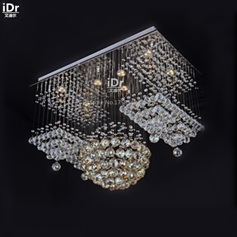 Modern, stylish living room restaurant lights LED crystal lamp rectangular hall lights suspension wire Chandeliers wwy-0100