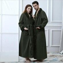 Зимний удлиненный плотный теплый фланелевый флисовый халат для влюбленных, роскошное платье, Двухслойное кимоно, банный халат, халат с меховым воротником