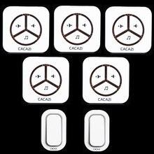 110-240 В Дверной Звонок 9909 Белый, Водонепроницаемый плагин Тип Беспроводного Смарт-Дверной Звонок электрический дверной звонок, 2 передатчика + 5 Приемник