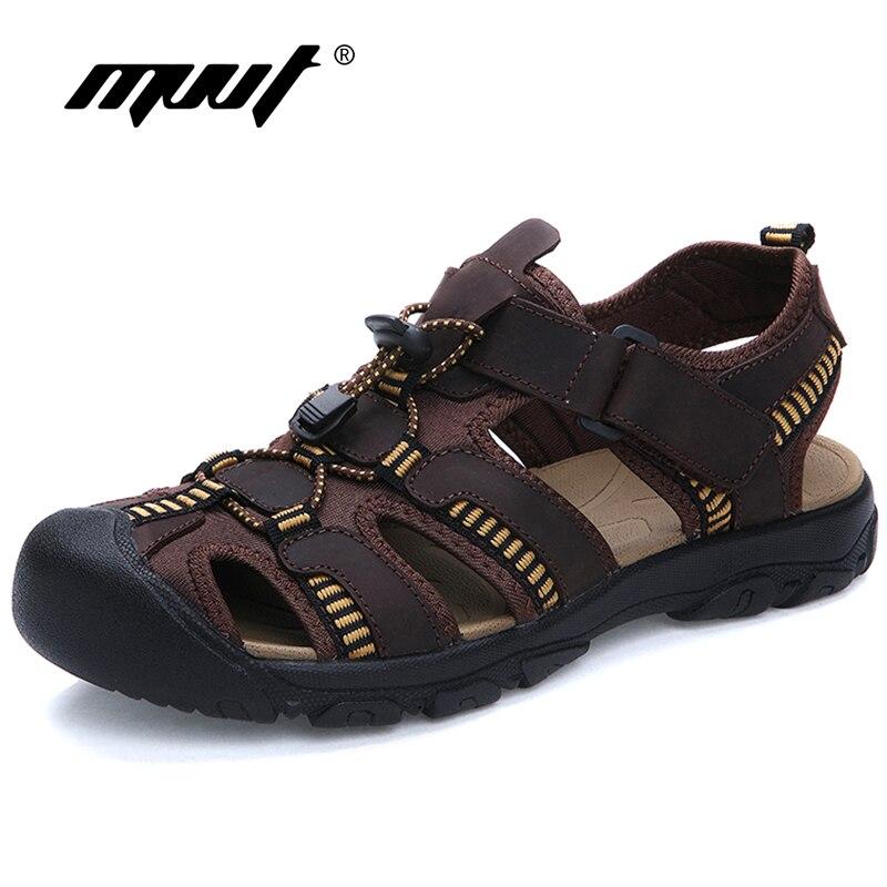 2018 Plus Size Men Sandals Quality Genuine Leather Men Summer Shoes Classics Comfort Beach Sandals Hard-wearing Men Foot Wear