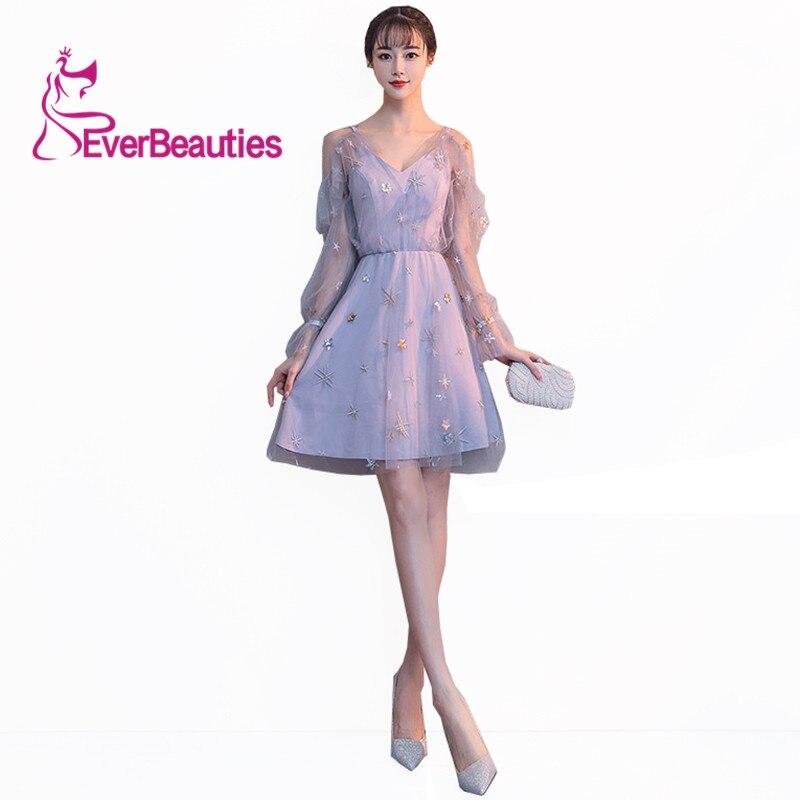 Cocktail     Dresses   2019 Long Sleeves Star Tulle Formal Banquet Evening Gown Elegant Prom   Dresses   vestido de noiva