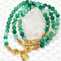 Hot sale 6mm natural green agate multilayer strand bracelets round beads gold-plated accessories free shipping jewelry B2234