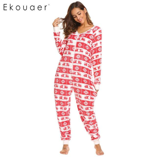 Ekouaer Women Fleece Pajamas Onesie Sleepwear Long Sleeve V-Neck Christmas  Print Casual Female Home Nighty Clothes Autumn Winter 2c63a09df