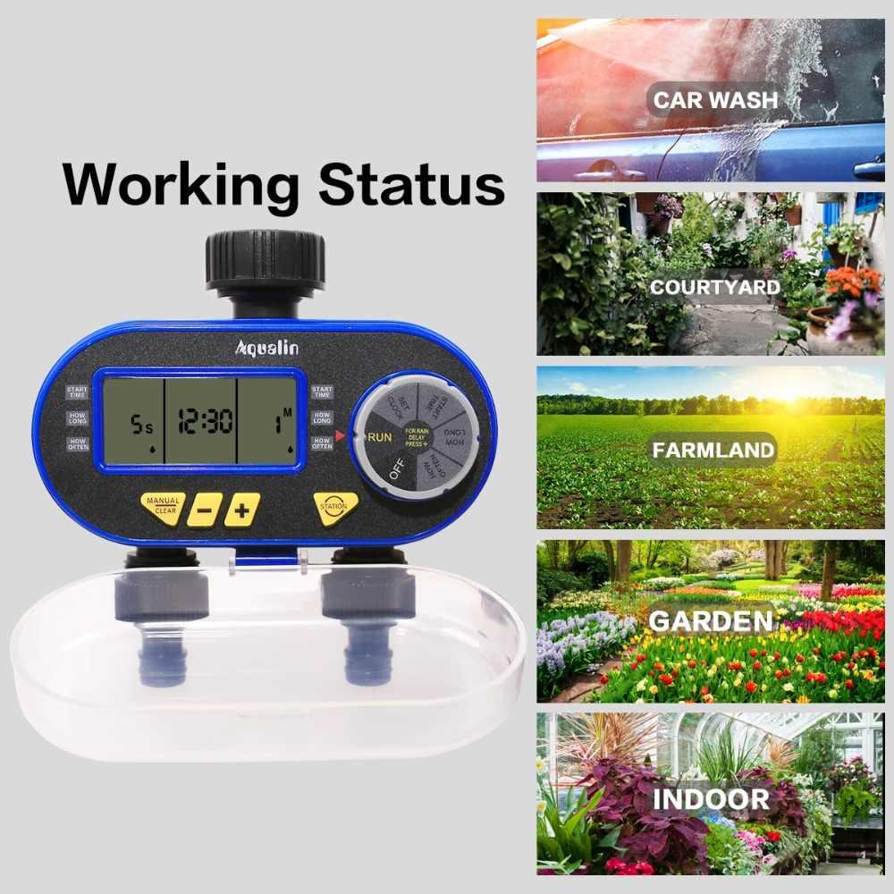 Nouveauté deux sortie jardin numérique électronique minuterie d'eau électrovanne jardin Irrigation contrôleur pour jardin, Yard #21060