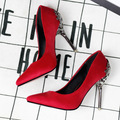2017 Новый Сексуальный Психического Пятки Женская Обувь замши На Высоком Каблуке Женщины Насосы Цветок Металла Пятки Stiletto 9 цвета