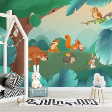 цена на Custom wallpaper hand-painted wood cartoon animal background wall decoration painting high-grade waterproof material