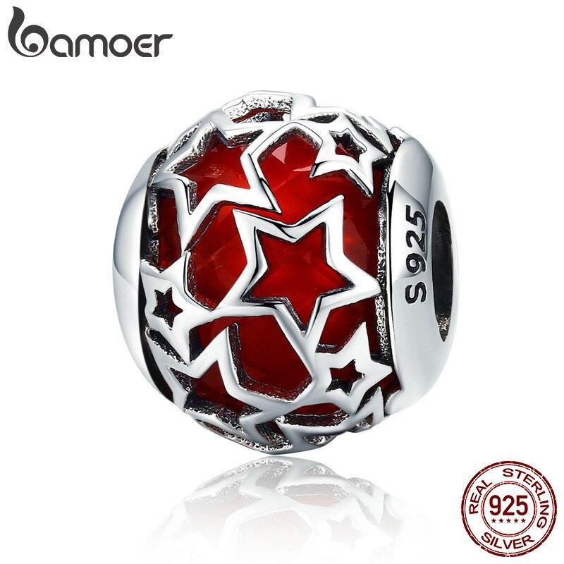 BAMOER Venta caliente 100% de Plata de Ley 925 brillante estrella de cristal rojo CZ cuentas de las mujeres pulseras y brazaletes de la joyería SCC509
