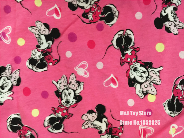 100170cm Cartoon Rose Mickey Minnie Mouse Knitting Cotton Fabric