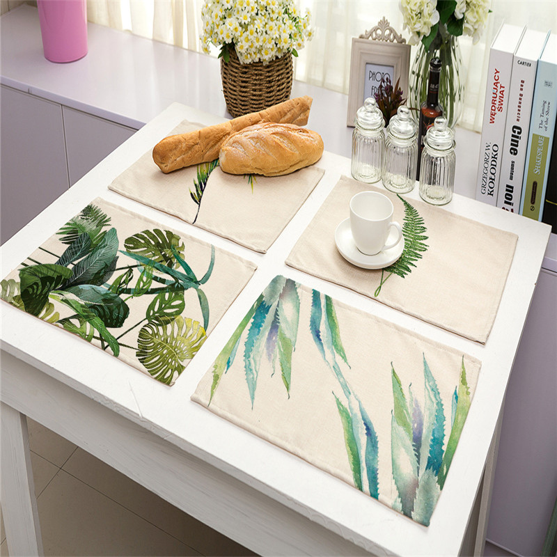 7 Styles Cotton and linen Cloth Table Napkins Insulation Tropical green plant printed Decorated Napkins Bohemian Fabric Napkins