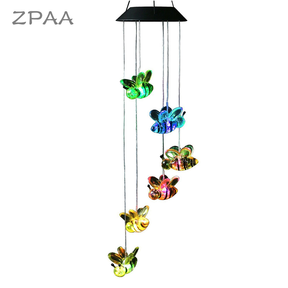 Bee Mobile Wind Chimes Lights Color Changing Solar Pannel LED Hanging Light Night Hanging Lamp for Patio Garden DecorationBee Mobile Wind Chimes Lights Color Changing Solar Pannel LED Hanging Light Night Hanging Lamp for Patio Garden Decoration