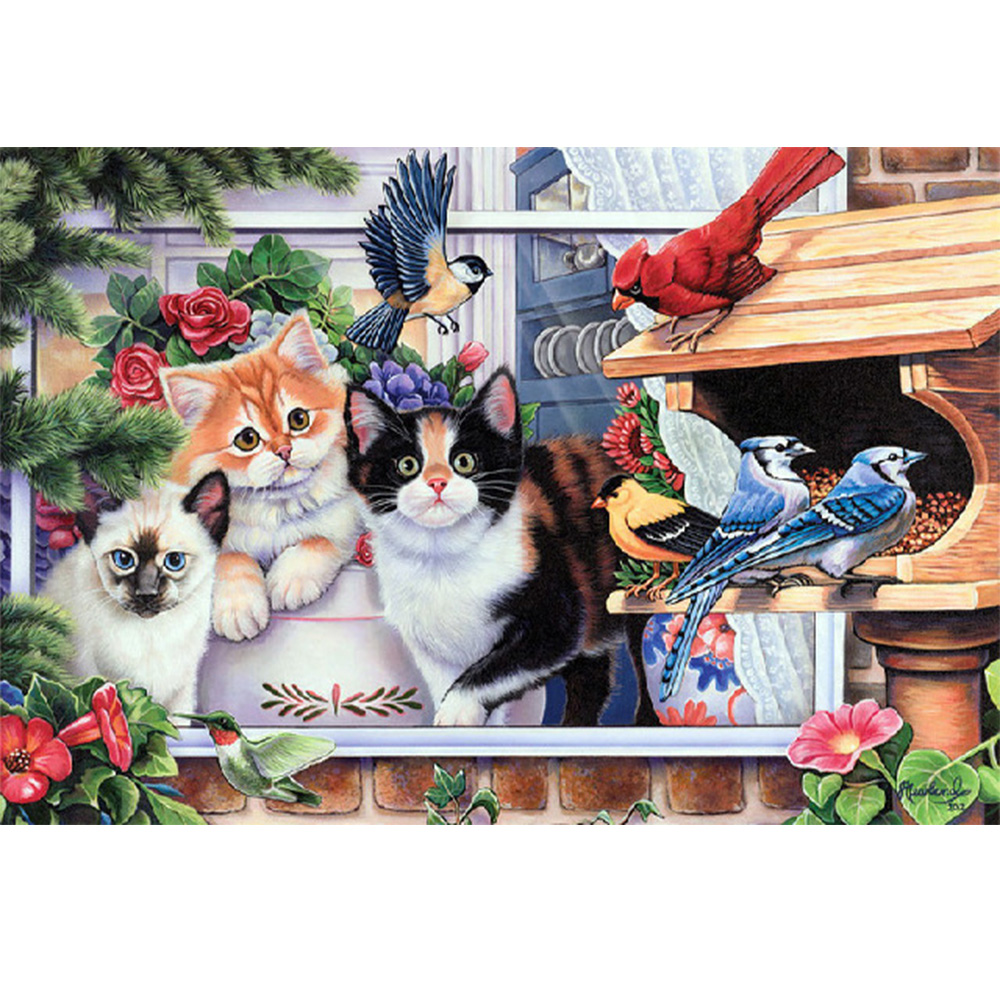 Moge diamond painting Cat emboridery and bird 5D full cat birds flower